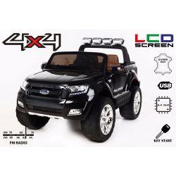 Elektromos kisautó Ford Ranger Wildtrak 4X4 LCD Luxury, LCD képernyő, 4x4 meghajtás, 2 x 12V, EVA kerék, bőrözött ülés, 2,4 GHz távirányító, kulcs, 4 X MOTOR, 2 személyes, Fekete, Bluetooth, USB, SD kártya, Eredeti Liszensz