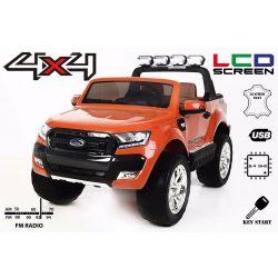 Elektromos kisautó Ford Ranger Wildtrak 4X4 LCD Luxury, LCD képernyő, 4x4 meghajtás, 2 x 12V, EVA kerék, bőrözött ülés, 2,4 GHz távirányító, kulcs, 4 X MOTOR, 2 személyes, narancs, Bluetooth, USB, SD kártya, Eredeti Liszensz