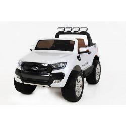 Elektromos kisautó Ford Ranger Wildtrak 4X4 LCD Luxury, LCD képernyő, 4x4 meghajtás, 2 x 12V, EVA kerék, bőrözött ülés, 2,4 GHz távirányító, kulcs, 4 X MOTOR, 2 személyes, Fehér, Bluetooth, USB, SD kártya, Eredeti Liszensz
