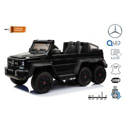 Mercedes-Benz G63 6X6 Elektromos gyermekautó, Fekete Lakkozott, LCD Kijelző, 6 Kerék, Háttérvilágítású Kerekek, 4x4 Meghajtás, 12V14AH, Hordozható Akkumulátorok, EVA Kerekek, Párnázott bőr ülések, 2,4 GHz Távirányító, Kulcs, 4X MOTOR, Két Gázpedál