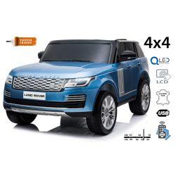 Range Rover elektromos autó, kettős ülés, kék lakkozott, bőr ülések, LCD kijelző USB bemenettel, 4x4 meghajtó, 2x 12V7AH, EVA kerekek, futómű tengelyek, kulcsos hármas indítás, 2,4 GHz-es Bluetooth távirányító