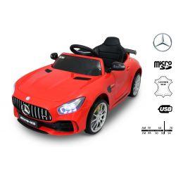 Elektromos kisautó Mercedes-Benz GTR piros, 12V, 2,4 GHz távirányító, nyitható ajtók, rugózott, EVA kerekek, bőr ülés, 2 X MOTOR, Eredeti Liszensz