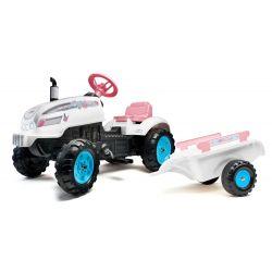 FALK Pedálos traktor 2042AB Butterfly Farmer pótkocsival és nyitható motorháztetővel