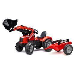 FALK Massey Ferguson S8740 pedálos traktor homlokrakodóval és pótkocsival