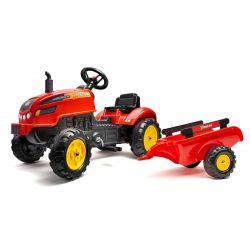 FALK Pedálos traktor 2046AB X-Traktor pótkocsival és nyitható motorháztetővel