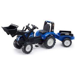 FALK Pedálos traktor New Holland T8 markolóval, és pótkocsival 3090M