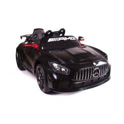 Elektromos kisautó Mercedes-Benz GT4, 12V, 2,4 GHz távirányító, nyitható ajtók, rugós felfüggesztés, puha EVA kerekek, 2 X MOTOR, fekete, Szervokormány, VALÓDI liszensz