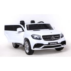 Elektromos Kisautó Mercedes-Benz GLS 63, 2x12V akku, 4 Kerék Meghajtás, fehér, EVA Kerék, széles 2 személyes bőr ülés, 2,4 GHz távirányító, 4 X MOTOR, USB, SD kártya bemenet