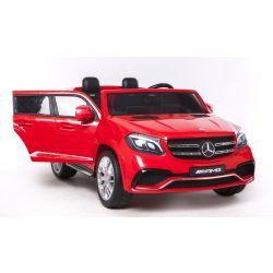 Elektromos Kisautó Mercedes-Benz GLS 63, 2x12V akku, 4 Kerék Meghajtás, piros, EVA Kerék, széles 2 személyes bőr ülés, 2,4 GHz távirányító, 4 X MOTOR, USB, SD kártya bemenet