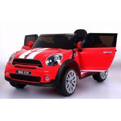 Elektromos kisautó Mini Paceman JCW, 12V, Puha EVA kerekek, 2,4 GHz távirányító, bőr ülés, USB, MP3, nyitható ajtók, 2 X MOTOR, piros, Eredeti liszensz