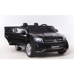 Elektromos Kisautó Mercedes-Benz GLS 63, 2x12V akku, 4 Kerék Meghajtás, fekete, EVA Kerék, széles 2 személyes bőr ülés, 2,4 GHz távirányító, 4 X MOTOR, USB, SD kártya bemenet