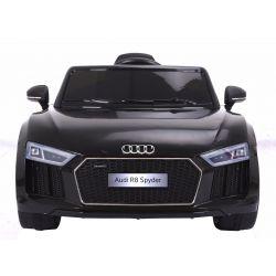 Elektromos kisautó Audi R8 Spyder, 12V, 2,4 GHz távirányító, nyitható ajtók, EVA kerekek, bőr ülés, 2 X MOTOR, fekete, Eredeti Liszensz