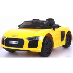Elektromos kisautó Audi R8 Spyder, 12V, 2,4 GHz távirányító, nyitható ajtók, EVA kerekek, bőr ülés, 2 X MOTOR, sárga, Eredeti Liszensz