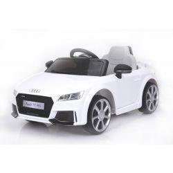 Elektromos kisautó Audi TT RS, 12V, 2,4 GHz távirányító, nyitható ajtók, EVA kerekek, bőr ülés, 2 X MOTOR, fehér, Eredeti Liszensz