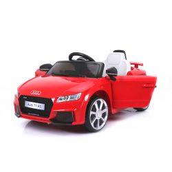 Elektromos kisautó Audi TT RS, 12V, 2,4 GHz távirányító, nyitható ajtók, EVA kerekek, bőr ülés, 2 X MOTOR, piros, Eredeti Liszensz