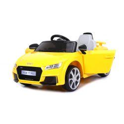 Elektromos kisautó Audi TT RS, 12V, 2,4 GHz távirányító, nyitható ajtók, EVA kerekek, bőr ülés, 2 X MOTOR, sárga, Eredeti Liszensz