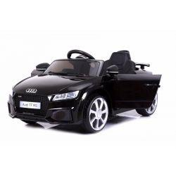 Elektromos kisautó Audi TT RS, 12V, 2,4 GHz távirányító, nyitható ajtók, EVA kerekek, bőr ülés, 2 X MOTOR, fekete, Eredeti Liszensz