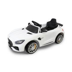 Elektromos kisautó gyerekeknek Mercedes-Benz GTR fehér, 12V, 2,4 GHz távirányító, nyitható ajtók, rugózott, EVA kerekek, bőr ülés, 2 X MOTOR, Eredeti Liszensz