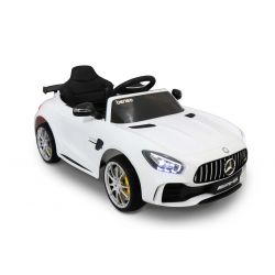 Elektromos kisautó Mercedes-Benz GTR fehér, 12V, 2,4 GHz távirányító, nyitható ajtók, rugózott, EVA kerekek, bőr ülés, 2 X MOTOR, Eredeti Liszensz