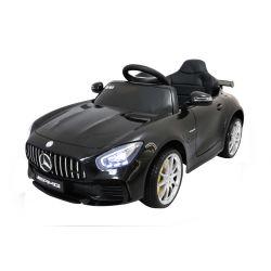 Elektromos kisautó gyerekeknek Mercedes-Benz GTR fekete, 12V, 2,4 GHz távirányító, nyitható ajtók, rugózott, EVA kerekek, bőr ülés, 2 X MOTOR, Eredeti Liszensz