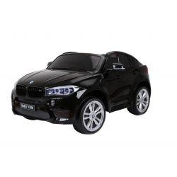 Elektromos kisautó BMW X6 M, 2 személyes, 12V, 2,4 GHz távirányító, elektromos fék, nyitható ajtók, EVA kerekek, bőr ülés, 2 X MOTOR, fekete lakkozott, Eredeti Liszensz