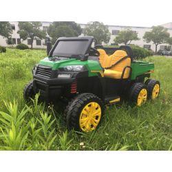 Elektromos Kisautó gyerekeknek Farm RIDER Mezőgazdasági 6X6, 4 Kerék Meghajtás, 2x12V akkumulátorral, EVA kerekekkel, széles kétüléses üléssel, lengéscsillapított kerekek, 2,4 GHz távirányítóval, MP3 lejátszó USB / SD bemenettel, Bluetooth