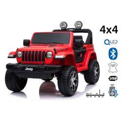 Elektromos kis autó JEEP Wrangler, Két ülés, piros, Bőrülés, Rádió Bluetooth lejátszóval, SD / USB bemenet, 4x4 meghajtó, 12V10Ah akkumulátor, EVA kerekek, függesztő tengelyek, 2,4 GHz távirányító