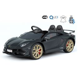 Lamborghini Aventador elektromos kisautó gyerekeknek, 12 V, 2,4 GHz távirányító, USB / SD bemenet, felfüggesztés, függőleges csuklós ajtó, lágy EVA kerekek, 2 X MOTOR, fekete, Eredeti Liszensz