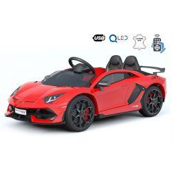 Lamborghini Aventador elektromos kisautó gyerekeknek, 12 V, 2,4 GHz-es távirányító, USB / SD bemenet, felfüggesztés, függőleges csuklós ajtó, puha EVA kerekek, 2 X MOTOR, piros, Eredeti Liszensz