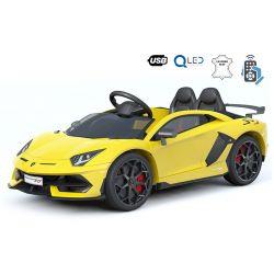 Lamborghini Aventador elektromos kisautó gyerekeknek, 12 V, 2,4 GHz távirányító, USB / SD bemenet, felfüggesztés, függőleges csuklós ajtó, puha EVA kerekek, 2 X MOTOR, sárga, Eredeti Liszensz