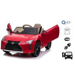 Elektromos játékautó Lexus LC500, 12 V, 2,4 GHz távirányító, USB / SD bemenet, hátsó lengéscsillapító, felfelé nyitható ajtó, 2 X MOTOR, piros, ORIGINAL liszensz