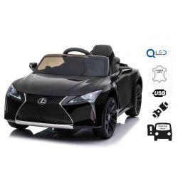 Elektromos játékautó Lexus LC500, 12 V, 2,4 GHz távirányító, USB / SD bemenet, hátsó lengéscsillapító, felfelé nyitható ajtó, 2 X MOTOR, fekete, ORIGINAL liszensz