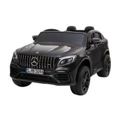 Elektromos Kiskautó gyerekeknek Mercedes-AMG GLC, 2 üléses, Fekete, bőr ülés, Rádió USB-bemenettel, 4x4, 2x 12V7Ah, EVA kerekek, Rugós felfüggesztés, 2,4 GHz távirányító