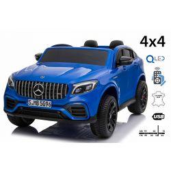 Elektromos Kiskautó gyerekeknek Mercedes-AMG GLC, 2 üléses, Kék, bőr ülés, Rádió USB-bemenettel, 4x4, 2x 12V7Ah, EVA kerekek, Rugós felfüggesztés, 2,4 GHz távirányító