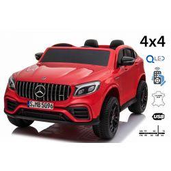 Elektromos Kiskautó gyerekeknek Mercedes-AMG GLC, 2 üléses, Piros, bőr ülés, Rádió USB-bemenettel, 4x4, 2x 12V7Ah, EVA kerekek, Rugós felfüggesztés, 2,4 GHz távirányító