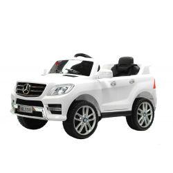 Elektromos kisautó Mercedes-Benz ML 350, bőrözött ülés, rugózással, akku 12V, 2,4 GHz távirányító, nyitható ajtók, 2 X MOTOR, Fehér, eredeti liszensz