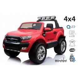 Elektromos kisautó Ford Ranger Wildtrak 4X4 LCD Luxury, LCD képernyő, 4x4 meghajtás, 2 x 12V, EVA kerék, bőrözött ülés, 2,4 GHz távirányító, kulcs, 4 X MOTOR, 2 személyes, Piros, Bluetooth, USB, SD kártya, Eredeti Liszensz