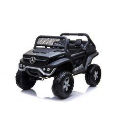 Elektromos Kisautó Mercedes Unimog Fekete, 4x4, 12V / 14Ah, EVA kerekek, széles 2 üléses, 2,4 GHz távirányító, 4 X MOTOR, USB, Bluetooth