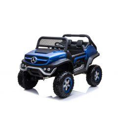 Elektromos Kisautó Mercedes Unimog Kék Lakkozott, 4x4, 12V / 14Ah, EVA kerekek, széles 2 üléses, 2,4 GHz távirányító, 4 X MOTOR, USB, Bluetooth