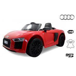 Elektromos kisautó gyerekeknek Audi R8 Spyder, 12V, 2,4 GHz távirányító, nyitható ajtók, EVA kerekek, bőr ülés, 2 X MOTOR, piros, Eredeti Liszensz