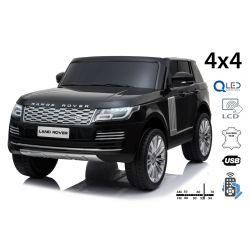 Range Rover elektromos autó, kettős ülés, fekete, bőr ülések, LCD kijelző USB bemenettel, 4x4 meghajtó, 2x 12V7AH, EVA kerekek, futómű tengelyek, kulcsos hármas indítás, 2,4 GHz-es Bluetooth távirányító