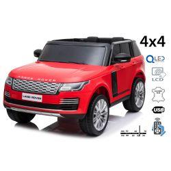 Range Rover elektromos autó, kettős ülés, piros, bőr ülések, LCD kijelző USB bemenettel, 4x4 meghajtó, 2x 12V7AH, EVA kerekek, futómű tengelyek, kulcsos hármas indítás, 2,4 GHz-es Bluetooth távirányító
