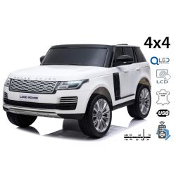 Range Rover elektromos autó, kettős ülés, fehér, bőr ülések, LCD kijelző USB bemenettel, 4x4 meghajtó, 2x 12V7AH, EVA kerekek, futómű tengelyek, kulcsos hármas indítás, 2,4 GHz-es Bluetooth távirányító