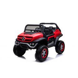 Elektromos Kisautó Mercedes Unimog Piros, 4x4, 12V / 14Ah, EVA kerekek, széles 2 üléses, 2,4 GHz távirányító, 4 X MOTOR, USB, Bluetooth