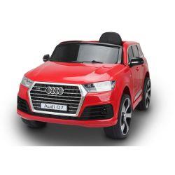 Elektromos kisautó Audi Q7, Eredeti Liszensz, 2,4 GHz távirányító, Nyitható ajtók, Bőr ülés, EVA kerekek, Piros, 12V,  2 X MOTOR