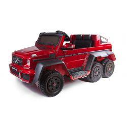 Mercedes-Benz G63 6X6 Elektromos gyermekautó, Piros Lakkozott, LCD Kijelző, 6 Kerék, Háttérvilágítású Kerekek, 4x4 Meghajtás, 12V14AH, Hordozható Akkumulátorok, GUMI Kerekek, Párnázott bőr ülések, 2,4 GHz Távirányító, Kulcs, 4X MOTOR, Szervokormány, Két G