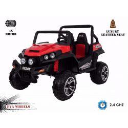 Elektromos Kisautó RSX 2x12V, 4 Kerék Meghajtás, piros, EVA Kerék, széles 2 személyes bőr ülés, 2,4 GHz távirányító, 4 X MOTOR, FM Radio, Bluetooth