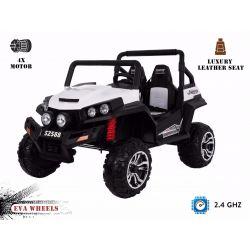 Elektromos Kisautó RSX 2x12V 4 Kerék Meghajtás, fehér,2x12V EVA Kerék, széles 2 személyes bőr ülés, 2,4 GHz távirányító, 4 X MOTOR, FM Radio, Bluetooth