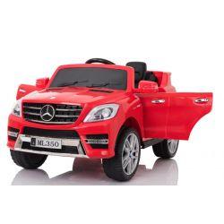 Elektromos kisautó Mercedes-Benz ML 350, bőrözött ülés, rugózással, akku 12V, 2,4 GHz távirányító, nyitható ajtók, 2 X MOTOR, piros, eredeti liszensz