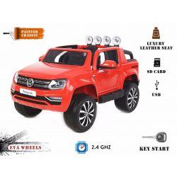 Elektromos kisautó Volkswagen Amarok 2x12V 4 Kerék Meghajtás, lakkozott piros, EVA Kerék, széles bőr ülés, 2,4 GHz távirányító, 4 X MOTOR, USB